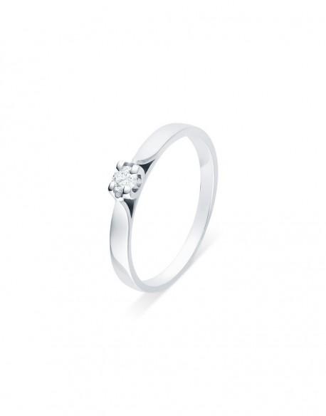 """Solitaire ruban """"Elza"""", diamant serti sur quatre griffes 0,10 carat"""