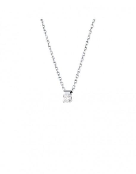 """Collier solitaire clous diamant """"Felissata"""" quatre griffes 0,10 carat"""