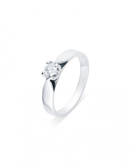"""Solitaire ruban """"Elza"""", diamant serti sur quatre griffes 0,20 carat"""