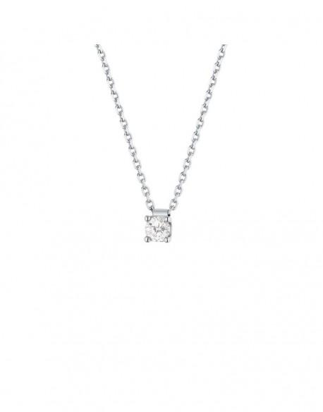 """Collier solitaire clous diamant """"Felissata"""" quatre griffes 0,20 carat"""