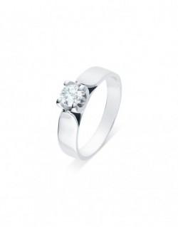 """Solitaire ruban """"Elza"""", diamant serti sur quatre griffes 0,40 carat"""