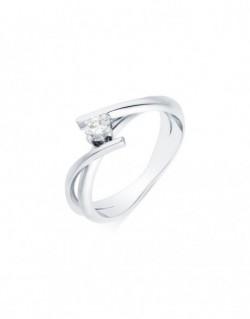 """Solitaire rubans croisés """"Venera"""", diamant serti sur quatre griffes 0,20 carat"""