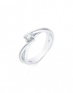 """Solitaire rubans croisés """"Venera"""", diamant serti sur quatre griffes 0,30 carat"""
