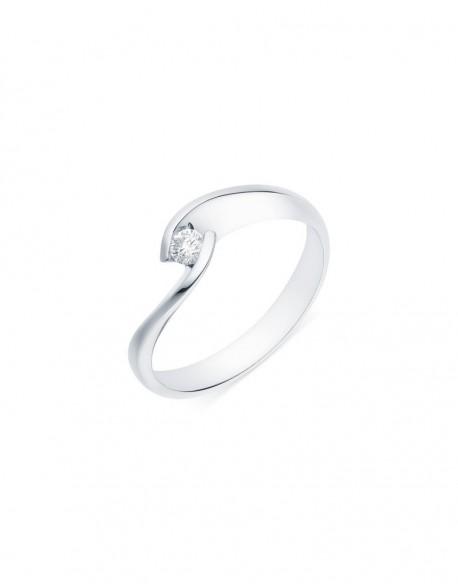"""Solitaire torsadé """"Lilia"""", diamant serti demi-clos 0,10 carat"""