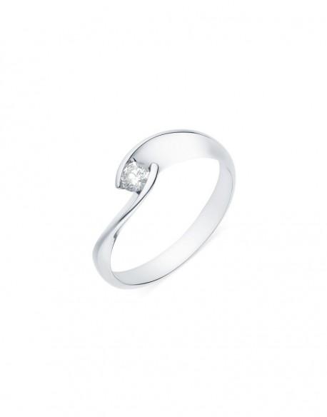 """Solitaire torsadé """"Lilia"""", diamant serti demi-clos 0,15 carat"""