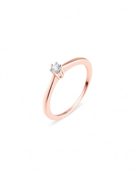 """Solitaire classique """"Galia"""", diamant serti sur six griffes 0,10 carat"""