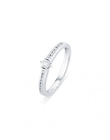 """Solitaire accompagné épuré """"Alissa"""", monture pavée et diamant sertis entre six griffes, 0,25 carat"""