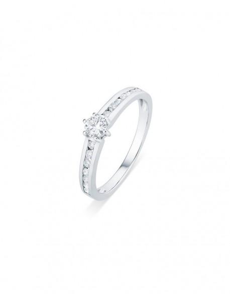 """Solitaire accompagné épuré """"Alissa"""", monture pavée et diamant sertis entre six griffes, 0,50 carat"""