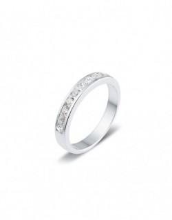 """Alliance semi-empierrée """"Guelia"""", diamants sertis entre deux rails 0,50 carat"""