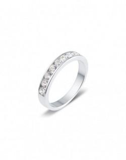 """Alliance semi-empierrée """"Guelia"""", diamants sertis entre deux rails 0,75 carat"""