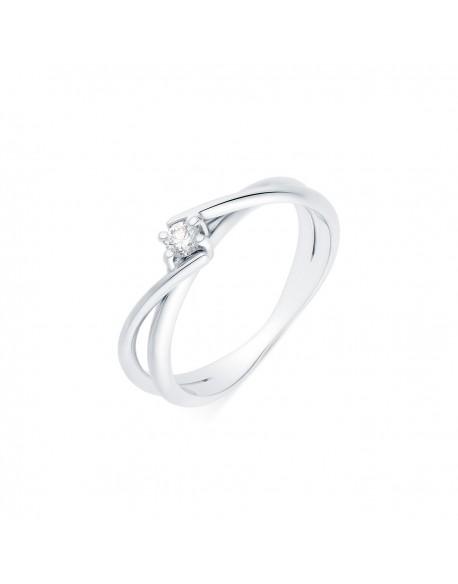 """Solitaire rubans croisés """"Venera"""", diamant serti sur quatre griffes 0,10 carat"""