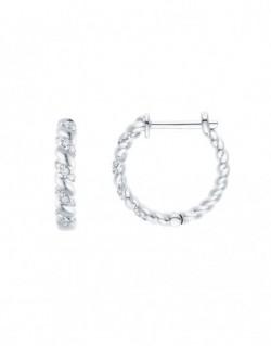 "Boucles d'oreilles torsadés diamants sertis grains ""Aglaïa"" 0,10 carat"