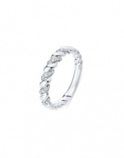 """Bagues torsadée diamants sertis grains """"Aglaïa"""" 0,16 carat"""