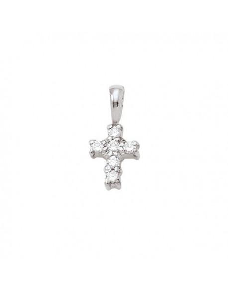 """Pendentif croix """"Tamara"""", diamants sertis sur griffes 0,10 carat"""