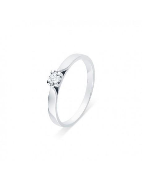 """Solitaire ruban """"Elza"""", diamant serti sur quatre griffes 0,15 carat"""