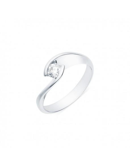 """Solitaire torsadé """"Lilia"""", diamant serti demi-clos 0,25 carat"""