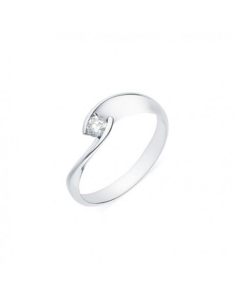 """Solitaire torsadé """"Lilia"""", diamant serti demi-clos 0,20 carat"""