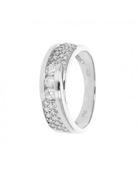 """Bague trilogy """"Beliana"""", pavé, avec trois diamants sertis entre deux rails 0,50 carat"""