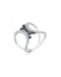 """Bague ajourée pavée """"Inessa"""", reliure en diamants noirs, 0,80 caratage total (0,20 carat diamants noirs)"""