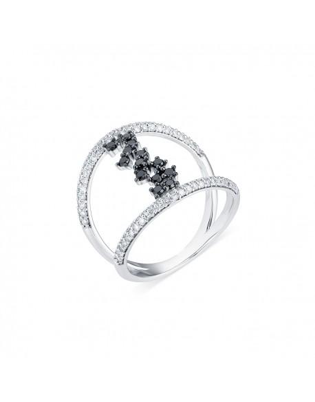 """Bague ajourée pavée """"Inessa"""", reliure en diamants noirs, 0,76 caratage total (0,26 carat diamants noirs)"""