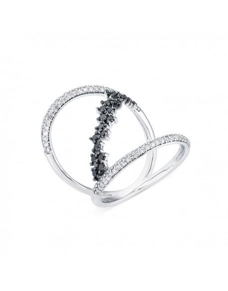 """Bague ajourée pavée """"Inessa"""", reliure en diamants noirs, 0,86 caratage total (0,36 carat diamants noirs)"""