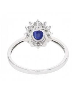 """Bague entourage """"Cyrilla"""" de diamants et saphirs sertis griffes, 0,30  carat et saphir 1,00 carat"""