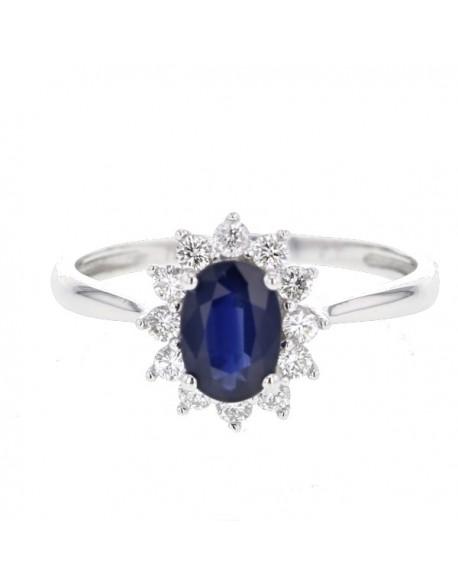 """Bague entourage """"Cyrilla"""" de diamants et saphirs sertis griffes, 0,48 carat et saphir 1,60 carat"""