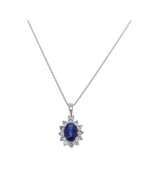 """Pendentif entourage """"Cyrilla"""" de diamants et saphirs sertis griffes, 0,30  carat et saphir 1,00 carat"""