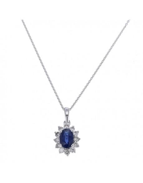 """Pendentif entourage """"Cyrilla"""" de diamants et saphirs sertis griffes, 0,48 carat et saphir 1,60 carat"""