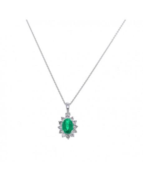 """Pendentif entourage """"Cyrilla"""" de diamants et saphirs sertis griffes, 0,18 carat et saphir 0,66 carat"""