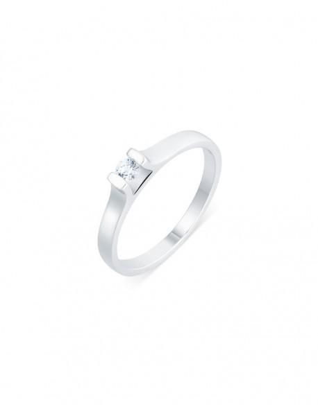 "Solitaire contemporain ""Roussana"", diamant serti massé 0,10 carat"