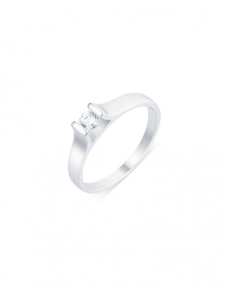 "Solitaire contemporain ""Roussana"", diamant serti massé 0,20 carat"