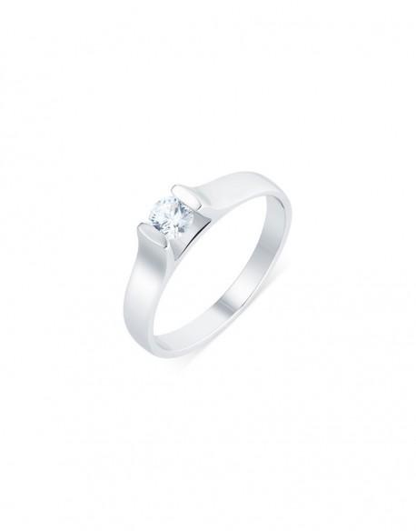 "Solitaire contemporain ""Roussana"", diamant serti massé 0,30 carat"