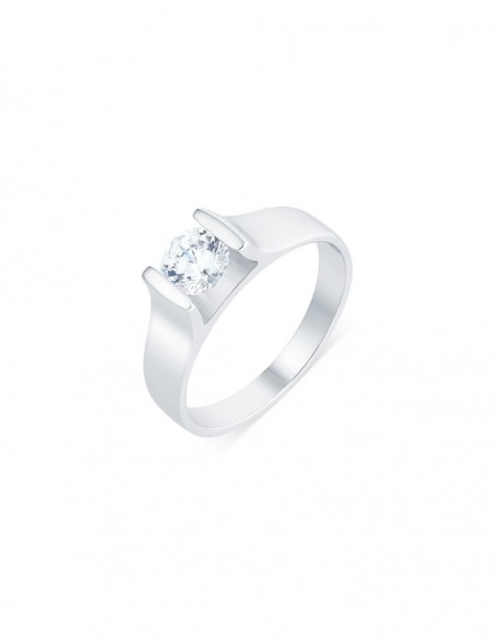 "Solitaire contemporain ""Roussana"", diamant serti massé 0,70 carat"